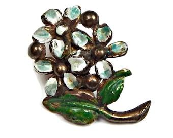 Enamel Flower Brooch Petite Brass Pin