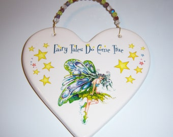 """Fairy Ceramic Plaque, """"Fairy Tales Do Come True"""", Childs Room , Beaded Wire Hanger,Whimsy,  Multicolored Stars"""