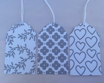 Gray and white gift tags, wedding gift tags, wedding favor tags, present tags, party favor tags