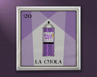 Set of 4 La Chola Loteria 4x4 inch Ceramic Tile Coasters - Loteria gifts,cholas,aquanet,handmade,original design,folk art,east los,east la