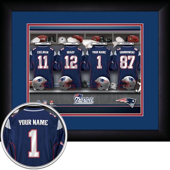 Locker Room Print Nfl New England Patriots Personalized