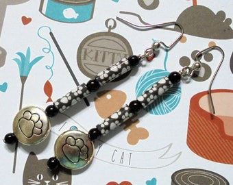 Black, White and Silver Paw Print Earrings (3673)
