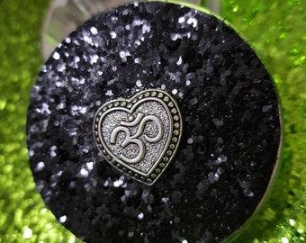 Customised Glitter Om Heart Herb Grinder