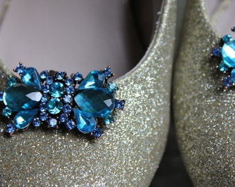 Brilliant Blue, I love you, shoe clips, a something blue for your big day