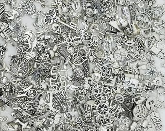 Clean mixed bulk silver charms, fast shipping from USA, 10 to 100 charms, pendants, you can even pick your charms plz read description BCS