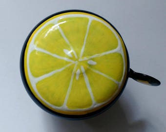 lemon bicycle bell bike accessories tropical fruit yellow citrus art custom bicycle accessories beach cruisers unique original functional