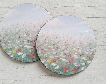 Glossy round gift set of 2 coasters, featuring my 'Hazy summer' design
