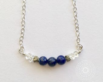 Lapis Lazuli, Pyrite, & Herkimer Necklace