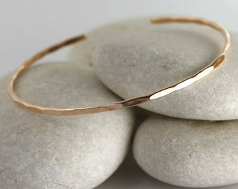 Thin Rose Gold Cuff, Rose gold filled textured bangle, layering rose gold bracelet