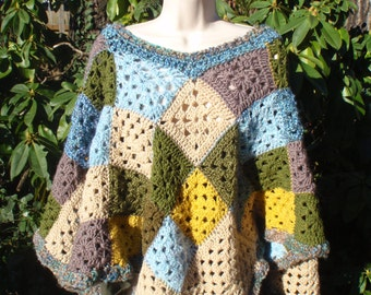 Nature Poncho Crochet Granny Square Green Blue Yellow Browns