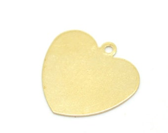 free UK shipping 10 pcs stamping blank HEART with loop brass 18mm x 18mm