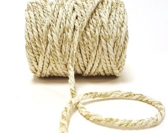 Ivory with Gold Sparkle 5mm Chunky Cotton Bakers Twine *Sold Per Metre*