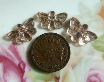 3 Pale Pink Glass Stones/Cab Sew-ons, Sew-on Butterflies Butterfly Moths C2