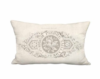12x20 Inch - READY TO SHIP - Linen Cotton Taillade Pillow - French Country Farmhouse Linen Cotton Cushion Cover