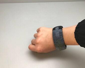 Black silver gray handmade beaded bracelet