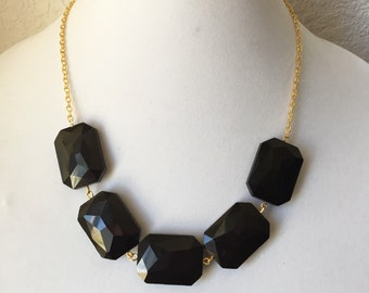 Black and Gold Chunky Statement Necklace