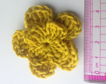 Set of 4 double crochet yellow mustard flowers