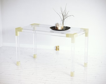 embry lucite l a desk table e v vintage i r