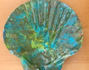 SEASHELL large dirty pour acrylic flip cup earring, ring, soap holder original art green and blue glitter