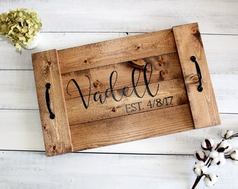 Personalized Serving Tray, Tray with Handles, Mothers Day Gift, Tray for Decor, Wood Serving Tray, Personalized Gift for Mom, Wood Tray