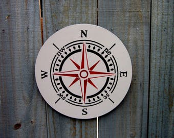 Compass Sign, Compass Rose, Directional Sign, Explore, Wall Art, Nautical Sign, Gray, Black, Red, Round Wood Sign, Hand Painted