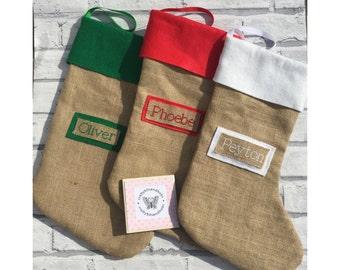 Personalised hessian stocking, christmas stocking, customised stocking, Christmas decoration, burlap stocking, rustic stocking