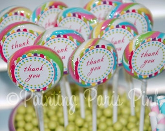 """Carnival Ride Swirl Pop Labels - Printable 1.5"""" Swirl Pop Labels or Thank You Tags - Instant Download"""