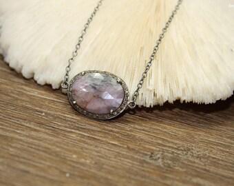 Pink Sapphire Pave Diamond Necklace, Oxidized Sterling Silver, Genuine Diamonds Pendant, September Birthstone