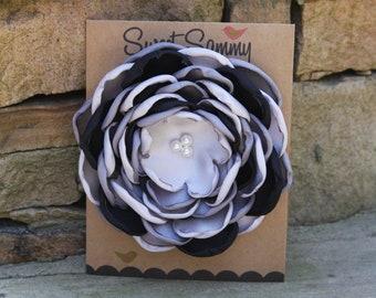 34 Colors Large Satin Flower Pin, Black/Gray/White Satin Flower Pin