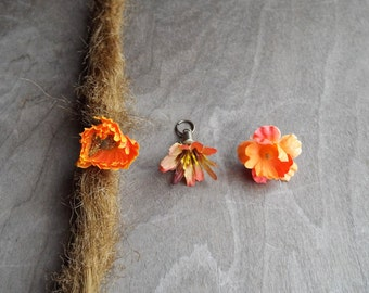 Shades of Orange Flower Dangle Charm Bead Antiques Brass  Dreadlock Accessory Extension Accessories Dread Boho Bohemian Hippie