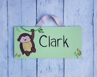 Monkey door Sign/ Jungle personalized name sign for kids room or nursery/ Child's Bedroom Door Sign/ playroom sign/ name plaque