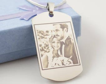 Photo Engraved Necklace, Photo Necklace, Engraved Necklace, Necklace Photo, Necklace Engraved, Engraved, Personalized Photo Necklace