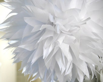 White tissue paper pom .. nursery decoration / baptism / wedding decor