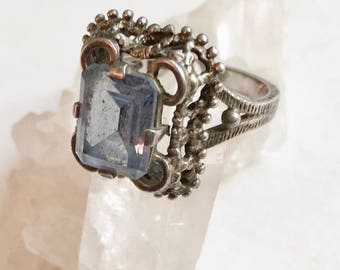 vintage sterling and topaz or glass ring size 6 and 1/4