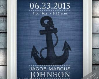 Ancre de bateau - Wall Decor - pépinière nautique Art - faire-part de naissance - bébé garçon chambre d'enfant - sous la mer - cadeau de naissance - impression d'Art ou de la toile