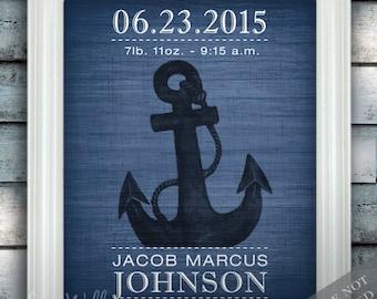 Anchor - Wall Decor - Nautical Nursery Art - Birth Announcement - Baby Boy Nursery - Under the Sea - Newborn Gift - Art Print or Canvas