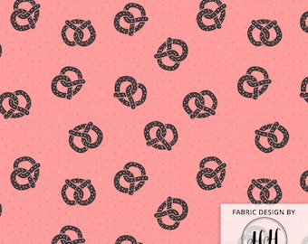 Toasty Pretzels Fabric by the Yard - Salty Brown Pretzels on Coral Pink Ditsy Print in Yard & Fat Quarter