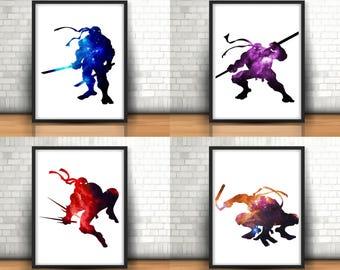 Teenage Mutant Ninja Turtles Inspired Art Prints Filled With Colourful Space Set Of 4 Leonardo, Donatello, Raphael, Michelangelo, Home Decor