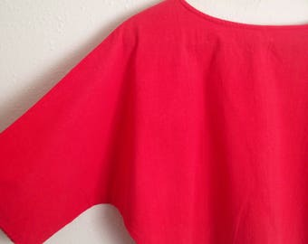 80s Red Cotton Dolman-sleeve Cropped Blouse Women's Small/Medium