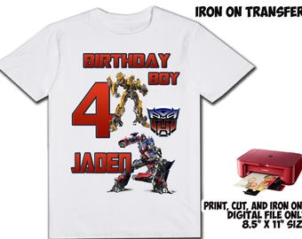 Transformers Personalized Name and Age - Transformers DIY Printable Iron On Transfer - Transformers Printable Birthday Shirt Party Transfer