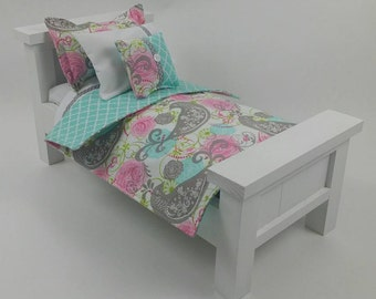 """18"""" Doll Bedding Set, Songbird Doll Bedding, Made to Fit 18"""" Dolls Such as The American Girl Dolls"""