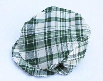 Boys Newsboy Hat, Green Plaid or Brown Plaid Newsboy Cap, Boys Flat Top Hat, Driving Cap, Boys Golf Hat, Photo Prop, Ring Bearer