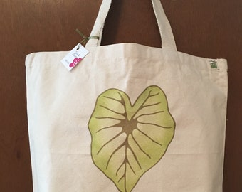 Kalo love printed in gold and handpainted tote bag
