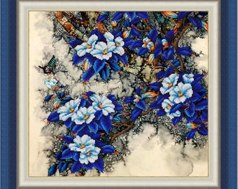 Blue Flowers DIY bead embroidery kit beading on needlepoint set room wall decor housewarming gift idea