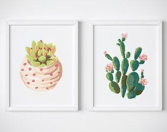 Set Of 2 Cactus Prints » 4x6 5x7 8x10 11x14 » Wall Art Print » Cactus Art » Succulent Print » Kitchen Decor » Home Decor » Digital Print