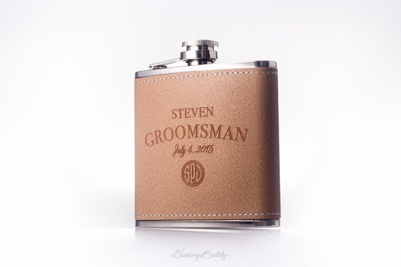 Brown Leather Monogram Hip Flask -  Personalized 6oz Engraved Flask -  Groomsman - Groom - Best Man - Wedding Gift - MODERN CLASSIC