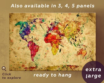 Rustic world map canvas rainbow map artwork Rustic wall map Watercolor world map wall art Rainbow colored map World map artwork Rainbow map