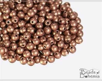 100 pcs Vintage Metallic Copper Czech Glass Round Beads 4 mm (9834)