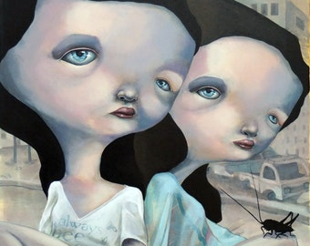 """Original lowbrow  pop surrealism art  """"The shape of things to be gone02"""""""