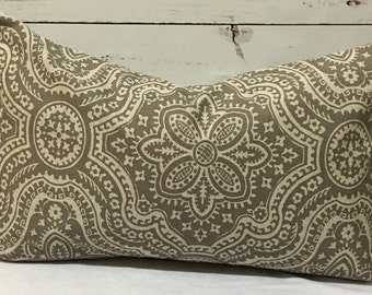 Dakota Damask Pillow Cover Taupe Oatmeal 12x20 Pillow